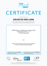 Preview of the current certificate od BKD GmbH